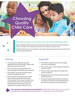 Cover of the Idaho Stars Child Care Checklist in English.