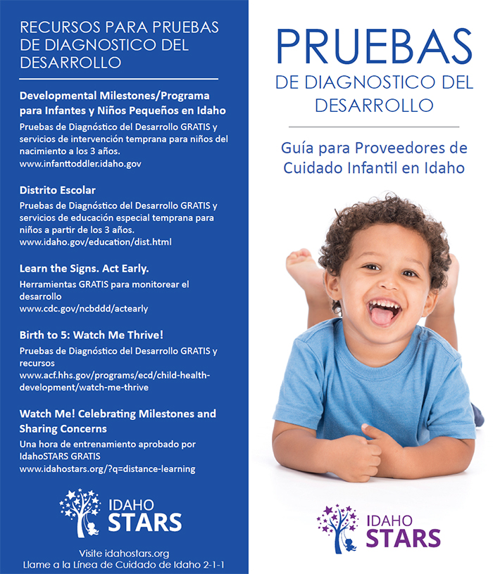 Cover and Resources page of IdahoSTARS Developmental Screening brochure.