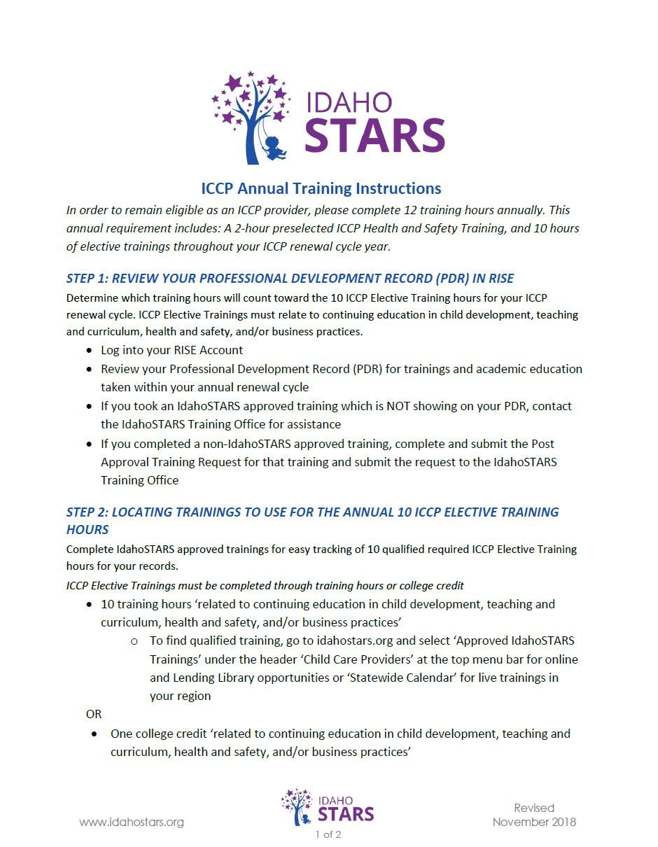 Cover sheet of IdahoSTARS Annual Training Instructions.