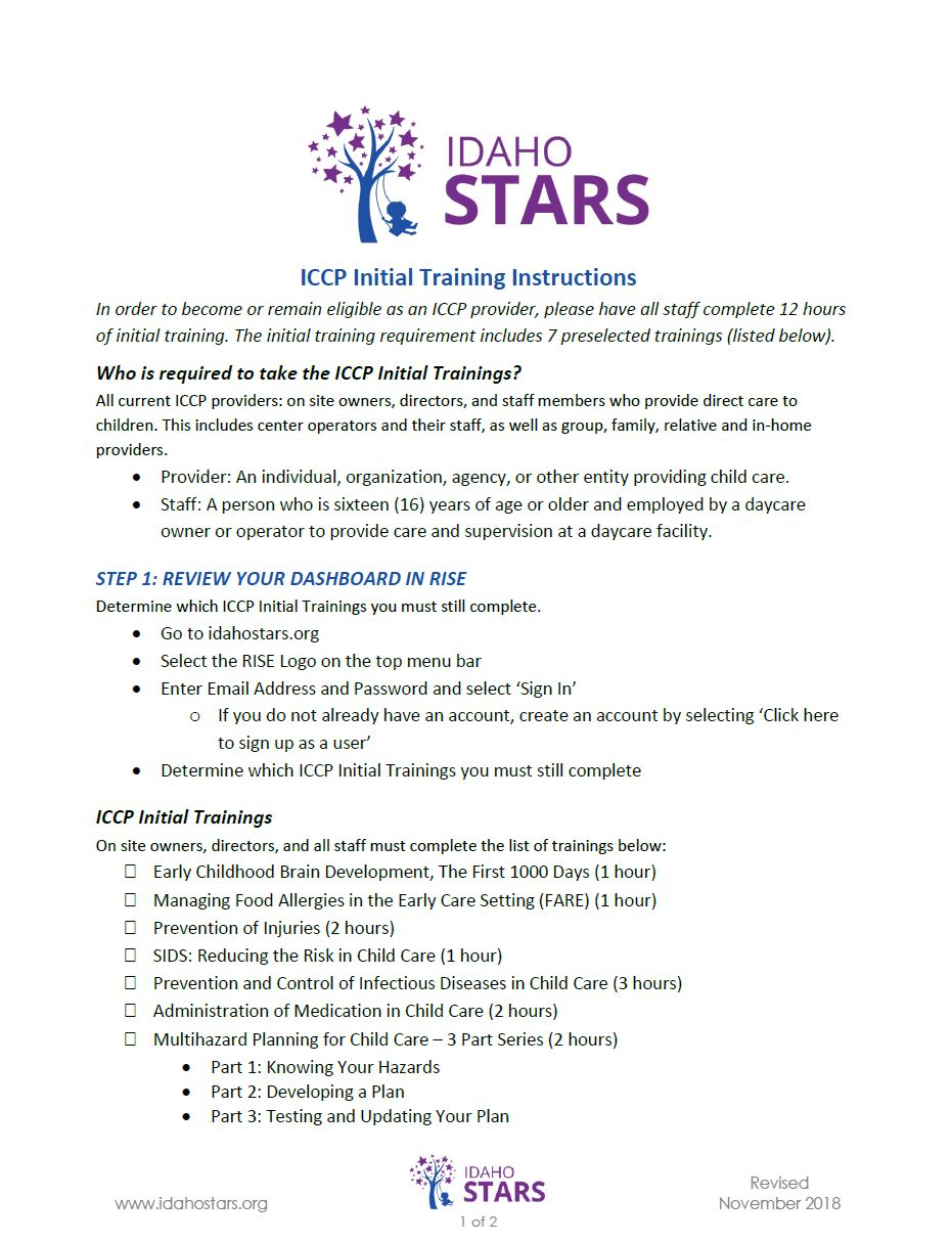 Cover sheet of IdahoSTARS Initial Training Instructions.