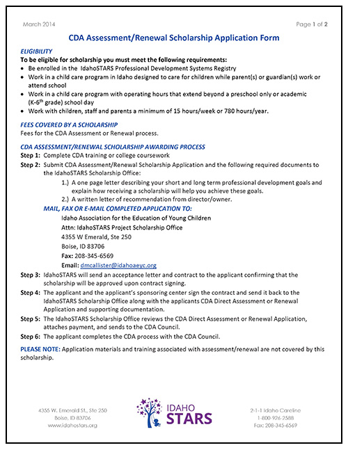Cover Sheet Of IdahoSTARS CDA Assessment / Renewal Scholarship Application  Form.