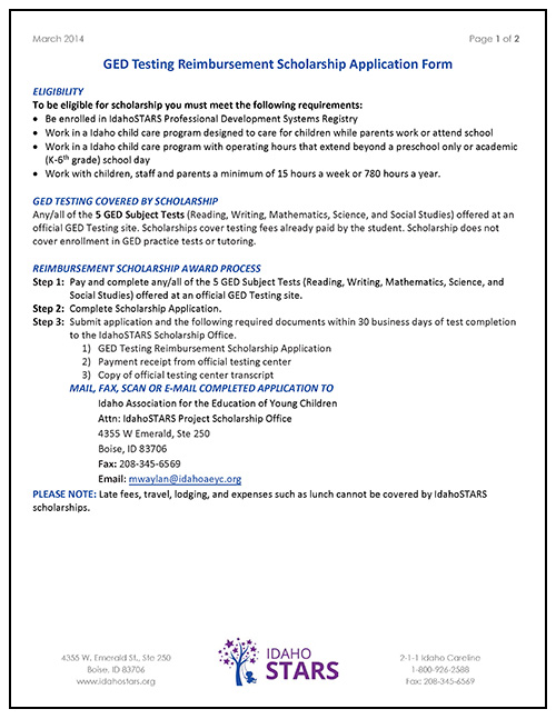 Cover sheet of IdahoSTARS GED Testing Reimbursement Scholarship Application Form.