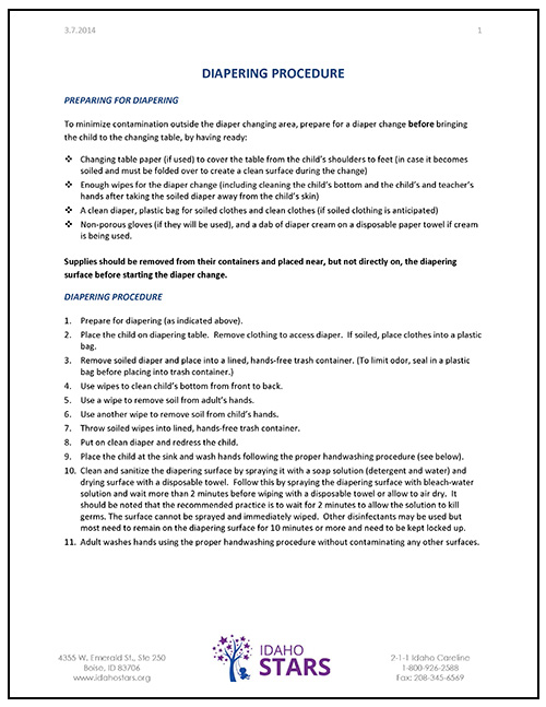 Cover sheet of IdahoSTARS Diapering Procedure document.