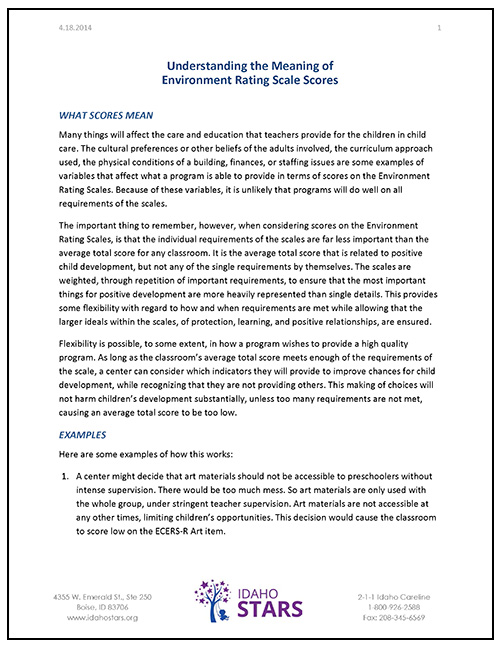 Cover sheet of IdahoSTARS Understanding the Meaning of Environment Rating Scale Scores document.