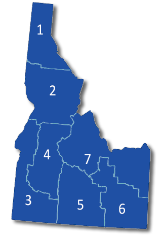 Map of Idaho divided into 7 regions.